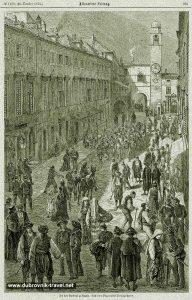Etching from 1876 - Stradun Street Scene, Dubrovnik