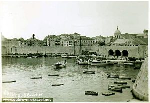 Old Harbour in Dubrovnik in 1950s