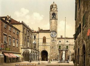 Stradun, Orlando's Column, Sponza Palace and Clock Tower - Dubrovnik