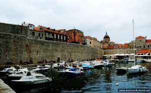 Small boats in the Old Port of Dubrovnik