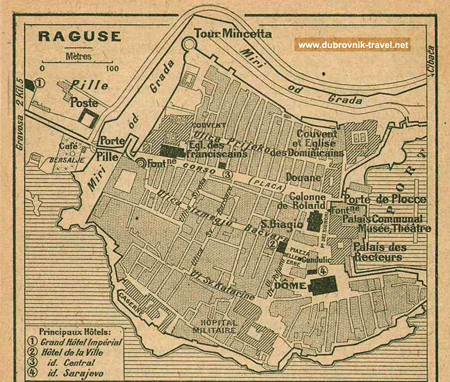 Tourist Map of Dubrovnik Town (1914)
