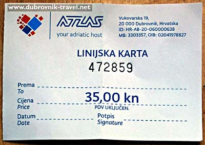 Bus ticket from the airport to the town
