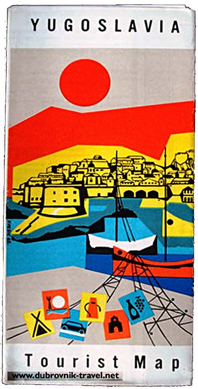 Dubrovnik on Tourist Map 1970s