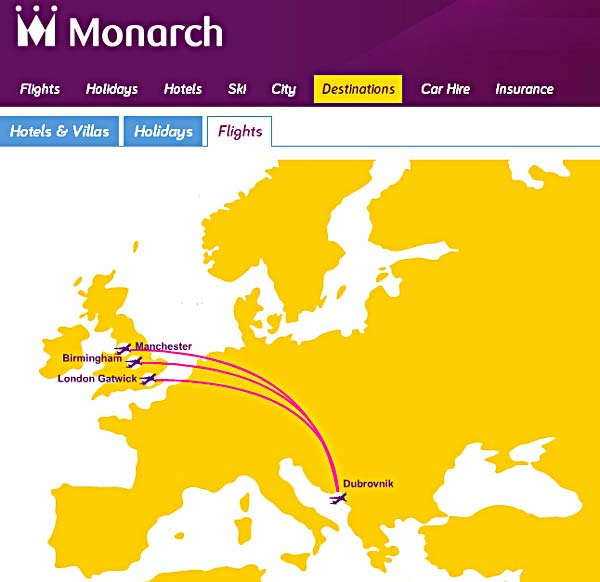 monarch flights to dubrovnik 2013