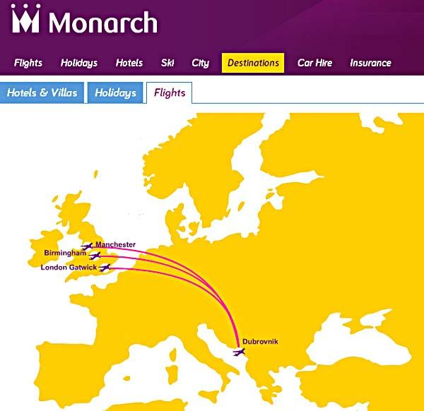 monarch flights to dubrovnik 2013