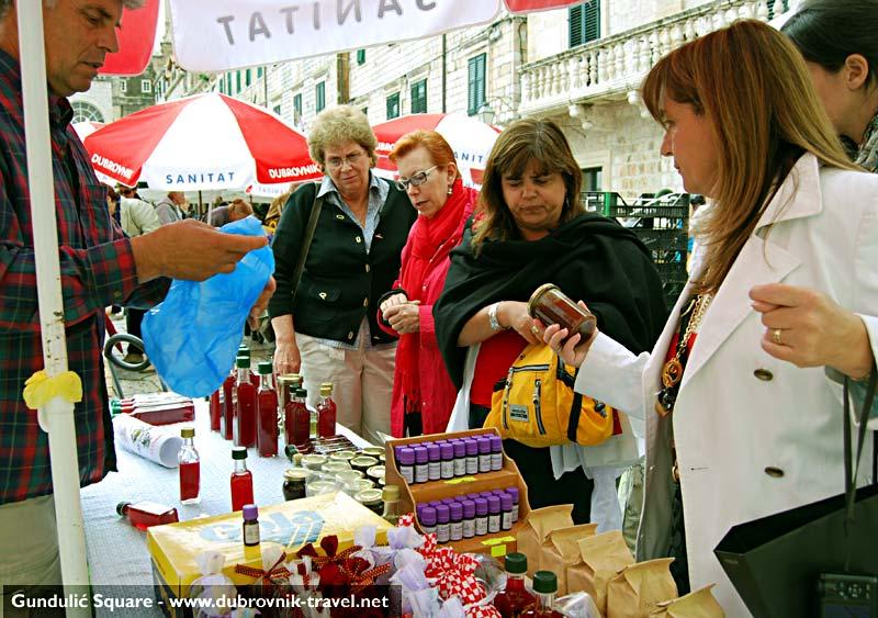 Home made fruit juice and marmalade stall at Gundulićeva Poljana's morning open air market