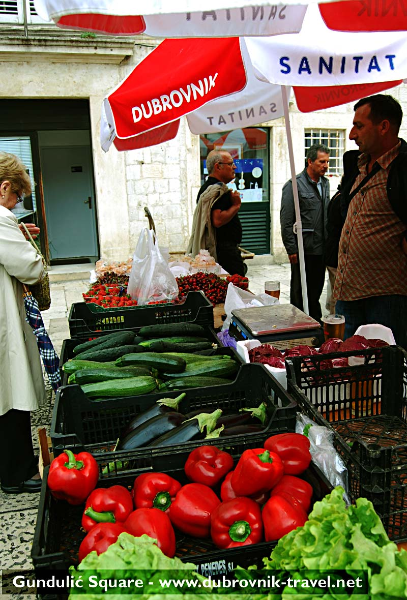 Lovely, fresh fruit and vegetable stall with selection of seasonal products
