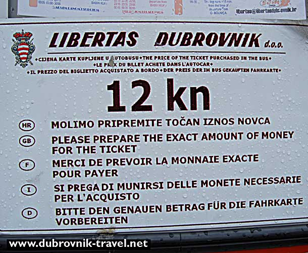 Sign at Pile Bus Stop Dubrovnik