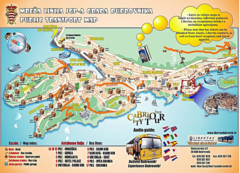 Map Of Dubrovnik Public Transport Map of Dubrovnik