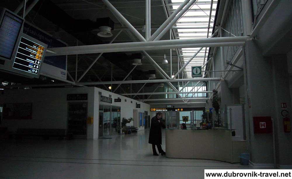 Main information desk in airport lobby @ Dubrovnik Airport