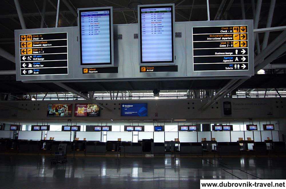 Dubrovnik Airport information panel of arrivals and departures