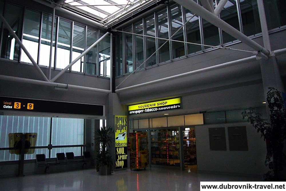 Souvenir Shop in airport lobby, Dubrovnik Airport