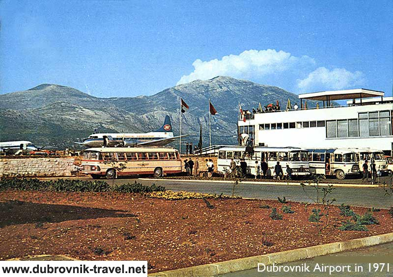 In 1971 - airport building, passenger buses and JAT aeroplane