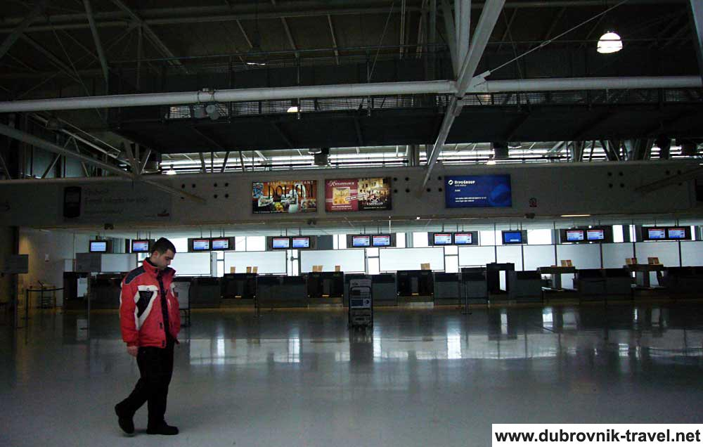 Lone Passanger near Check in Desks at Dubrovnik Airport