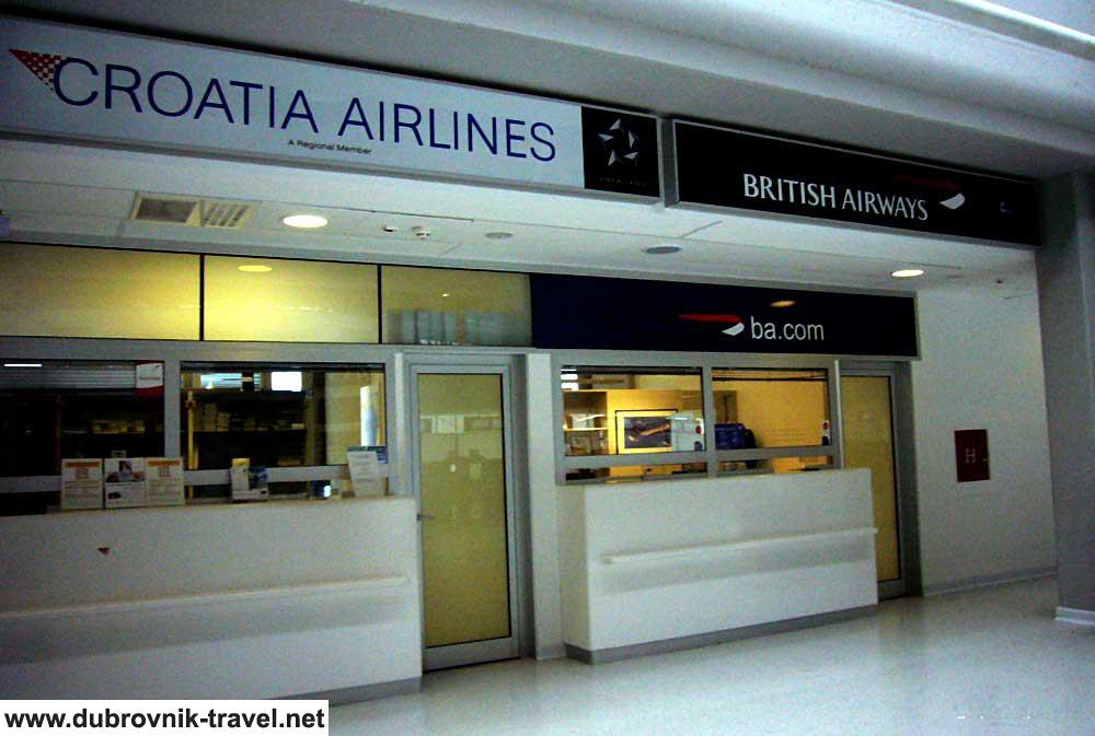 Croatia Airlines and British Airways desks at Dubrovnik Airport