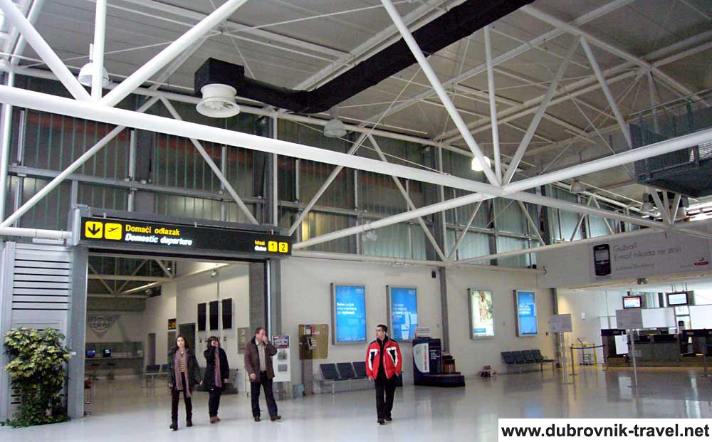 Rare passengers in airport lobby @ Dubrovnik Airport