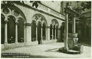 Cloister - Colonnade - a sequence of columns and water well - Dominican Monastery , Dubrovnik