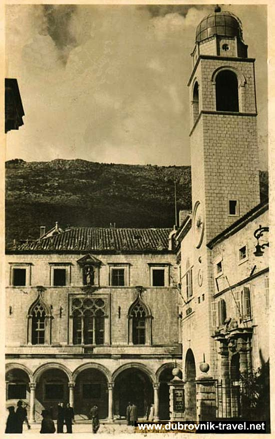 Street Scene in 1930 with Sponza Palace - Dubrovnik
