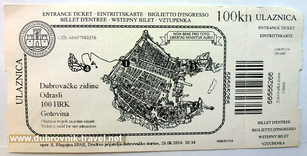 Entry ticket for the Dubrovnik city walls