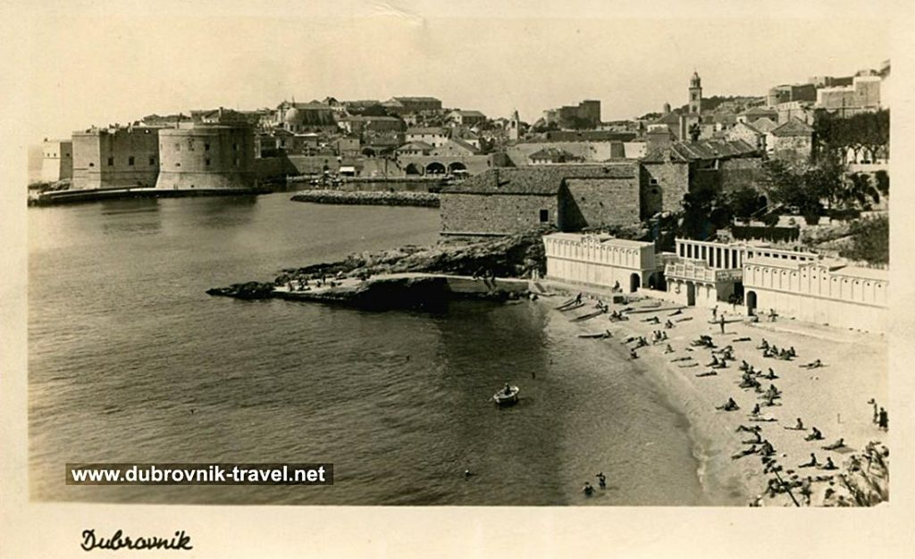 Panorama of Banje Beach and Old Town - Dubrovnik (1950s)