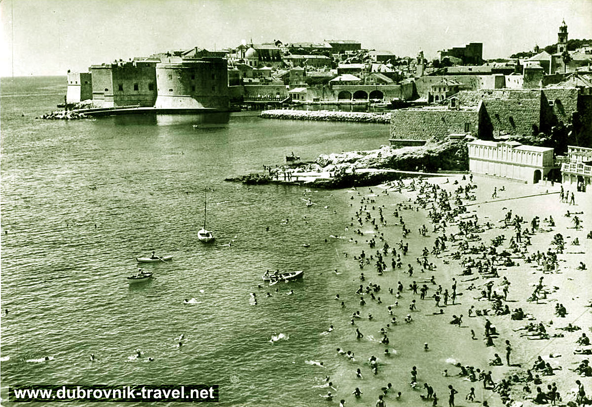 Busy Banje Beach in 1950s