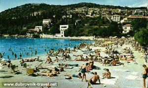 Beach Uvala Lapad in 1970s