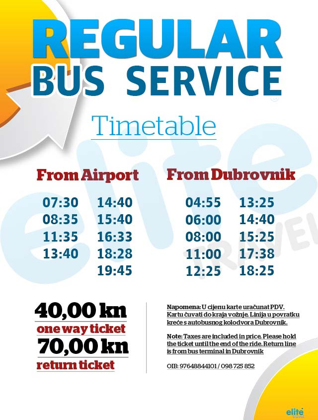 Dubrovnik Airport Bus Shuttle run by Elite Travel Agent