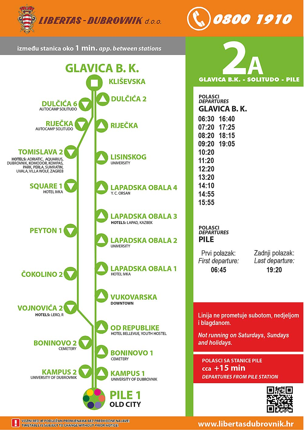 Timetables and info about Dubrovnik Bus Line 2a: From Glavica Lapad via Boninovo to Pile (Old Town) and back via Lapadska Obala