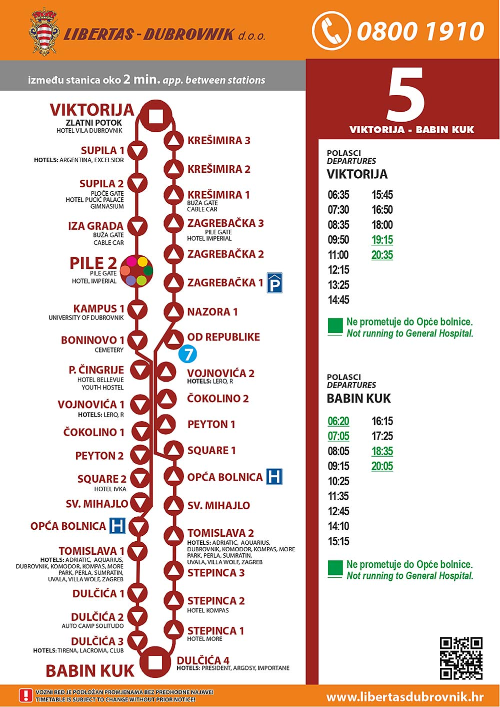 Timetables for Dubrovnik Bus Line 5