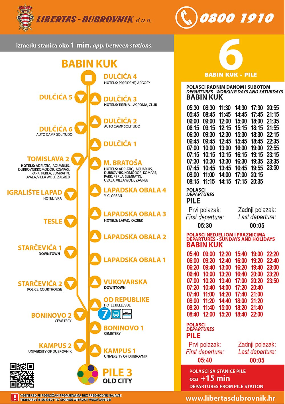 Timetables for Dubrovnik Bus Line 5: