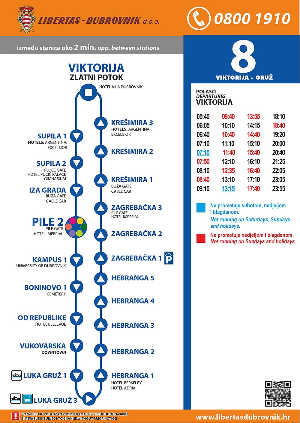 Timetables for Dubrovnik Bus Line 8