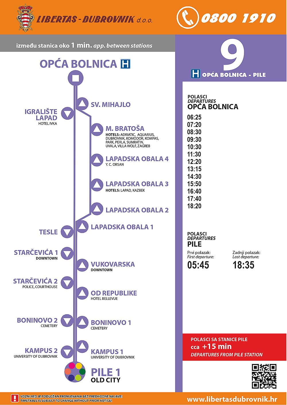 Timetables for Dubrovnik Bus Line 9