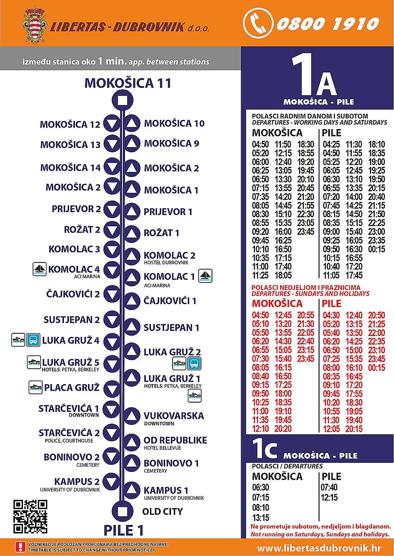 Timetables for Dubrovnik Bus Line 1:
