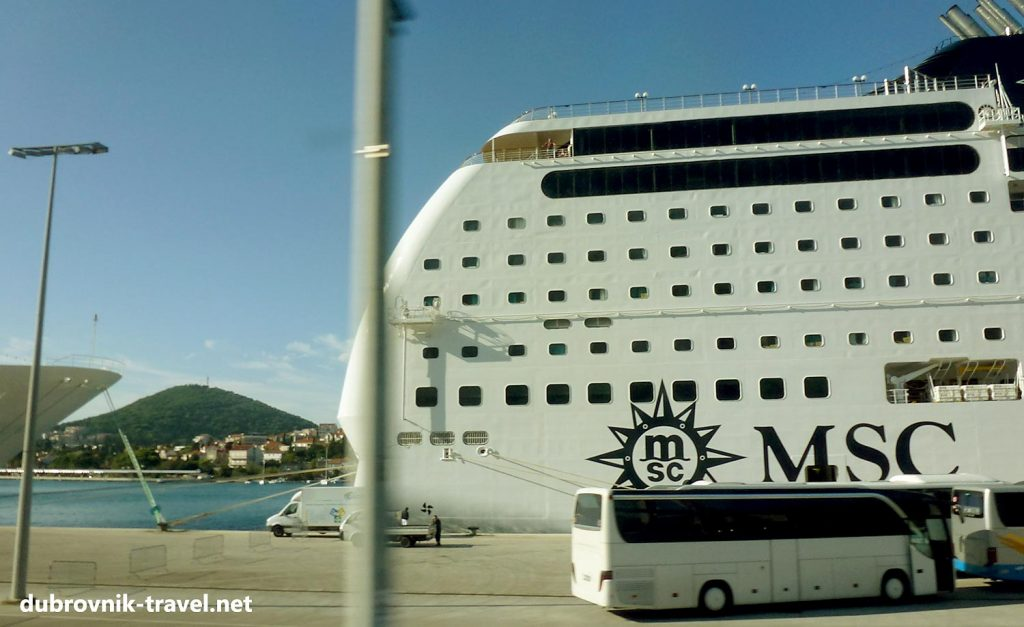 MSC Cruise ship docking in Dubrovnik