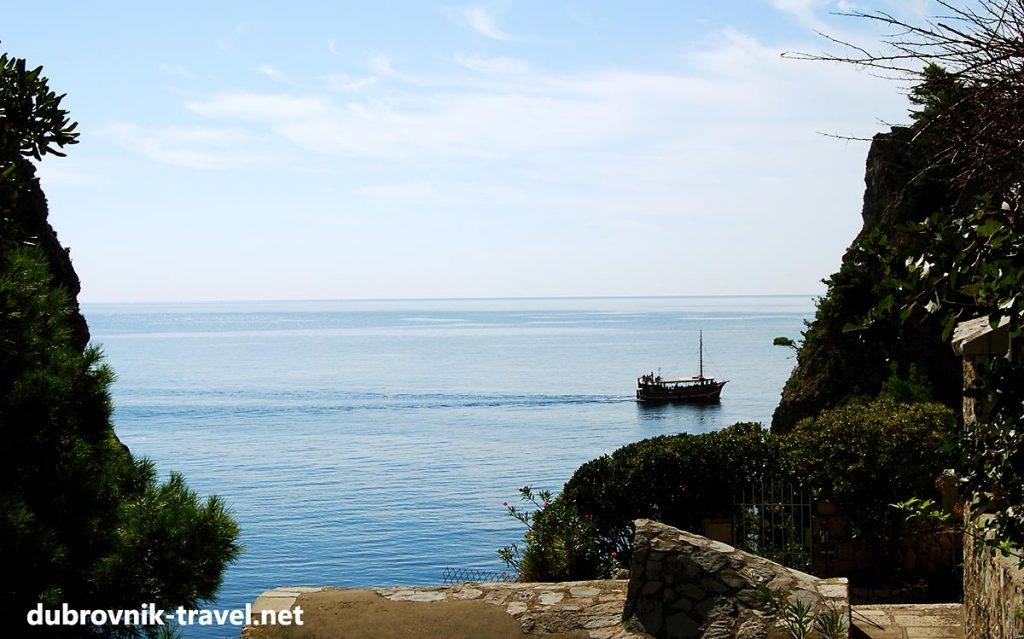 Old schooner passing near Dubrovnik