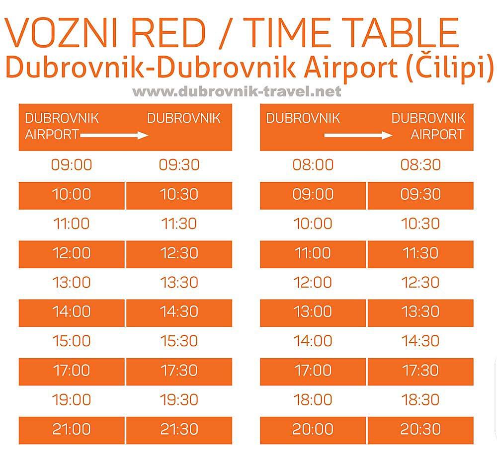 Dubrovnik Airport Bus Schedule