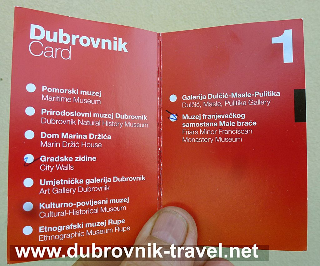 Dubrovnik Card - list of museums and heritage sites
