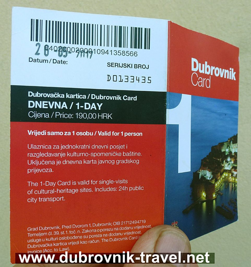 Dubrovnik Card - details how to use it and what is included