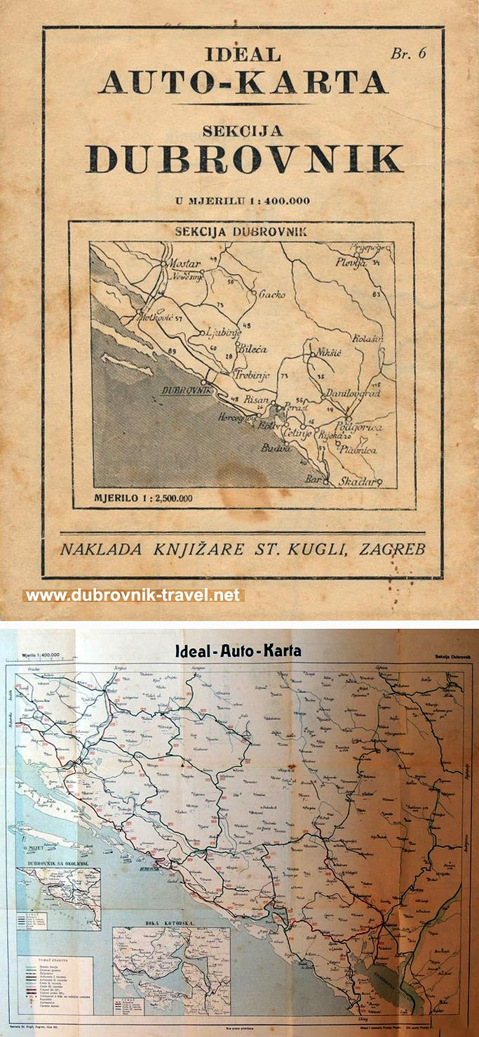 Dubrovnik Road Map from 1930s