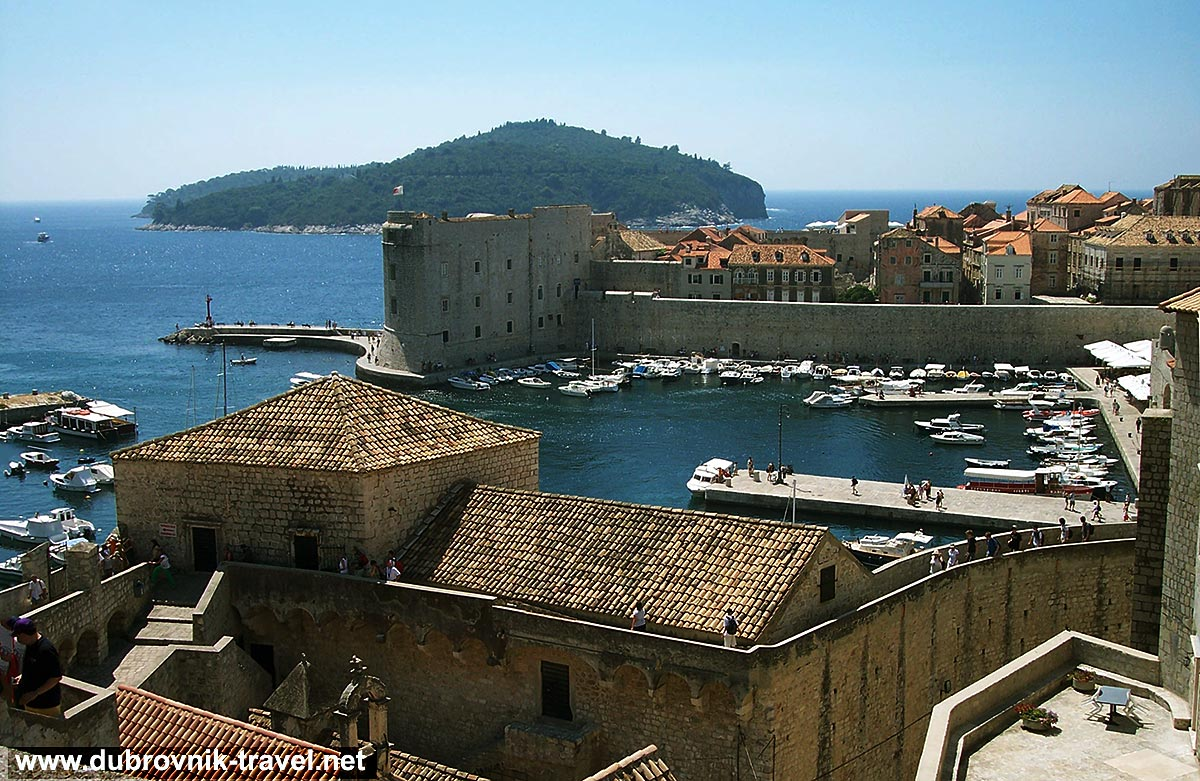 Views from Dubrovnik town walls over to old harbour, Sveti Ivan fortress and Lokrum Island