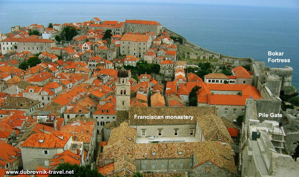 Views from Dubrovnik walls - over Pile gate, Bokar Fortress, Franciscan Monastery and town roofs