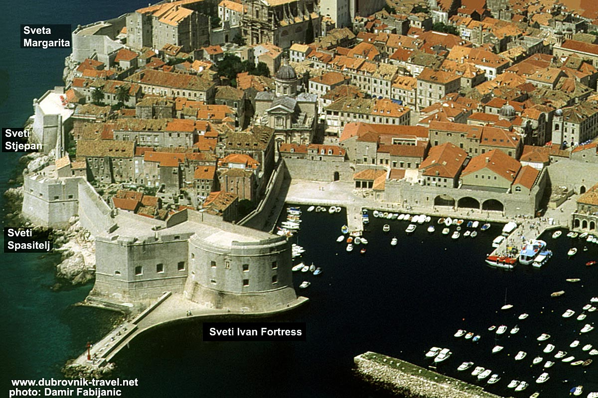 East side of Dubrovnik walls with Sveti Ivan, Sveti Spasitelj, Sveti Stjepan and Sveta Margarita Fortresses