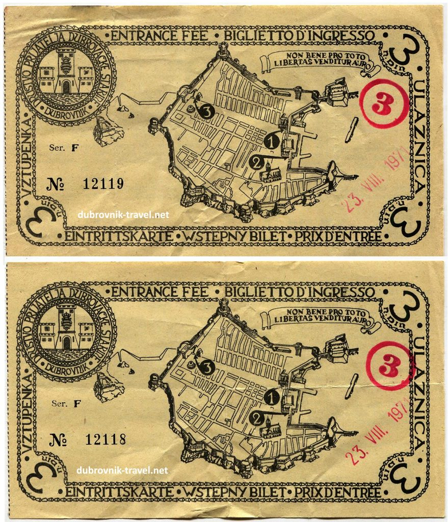 A pair of Entry Tickets to Dubrovnik's town walls issued in 1971