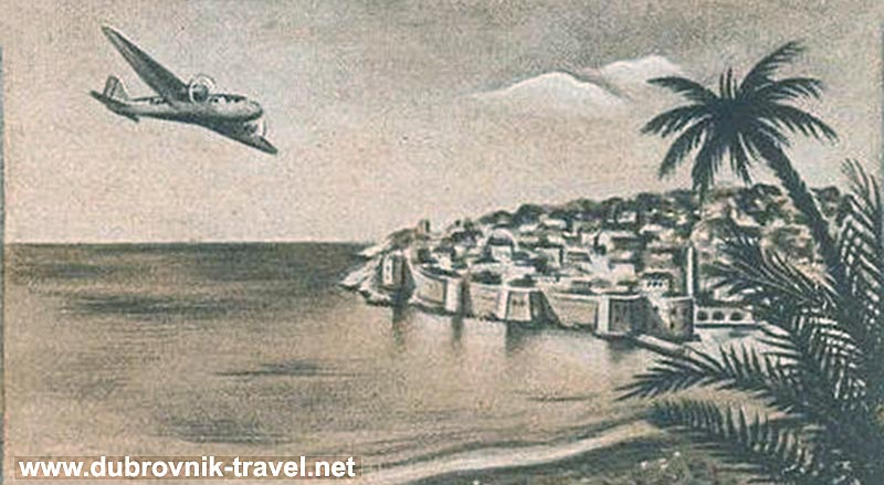 Flight over Dubrovnik graphic (1950s)