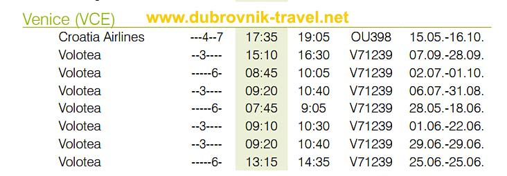 Flights from Venice to Dubrovnik