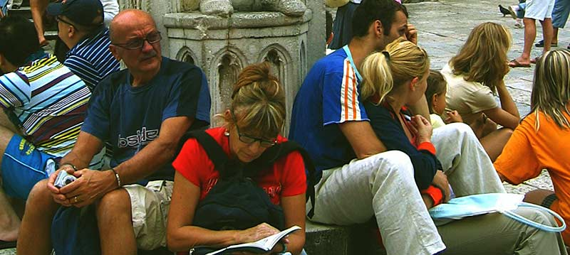 checking tourist guide in dubrovnik