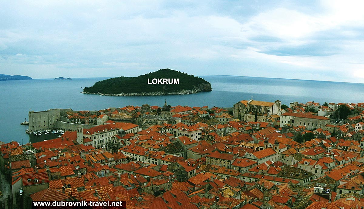 Views over Dubrovnik Old town with Lokrum island in the background
