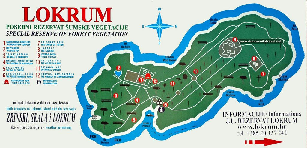 Map of Lokrum