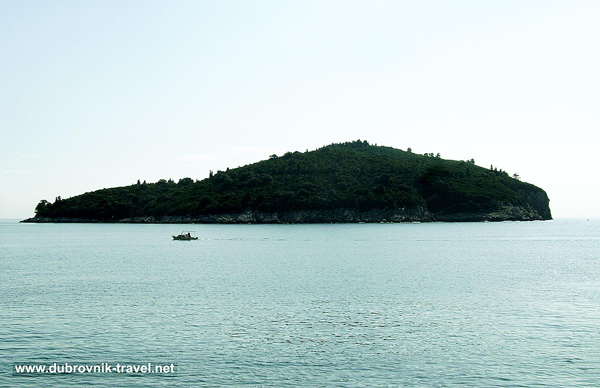 Island of Lokrum seen from Porporela with fishing boat in the foreground