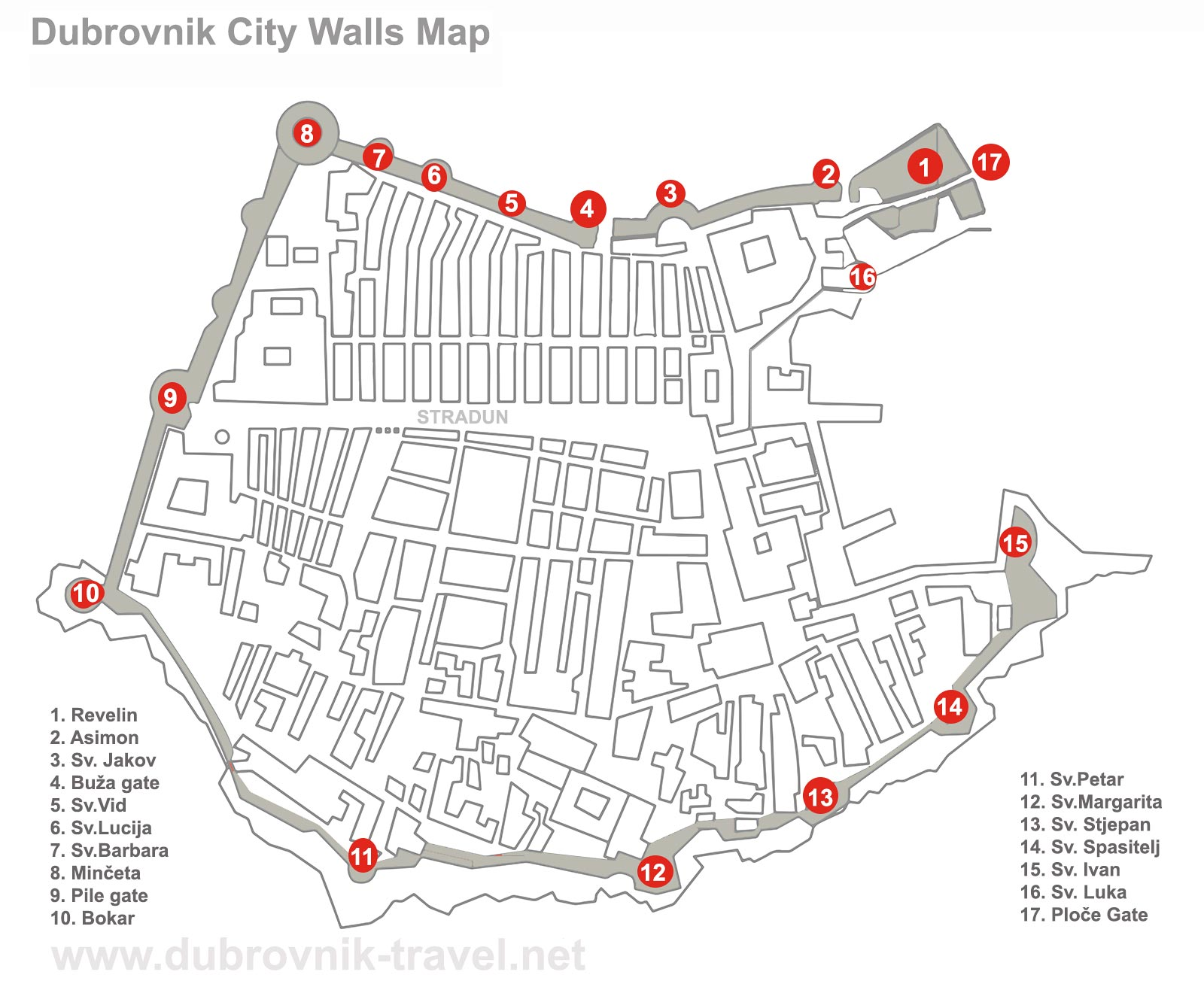 Dubrovnik City Walls Map